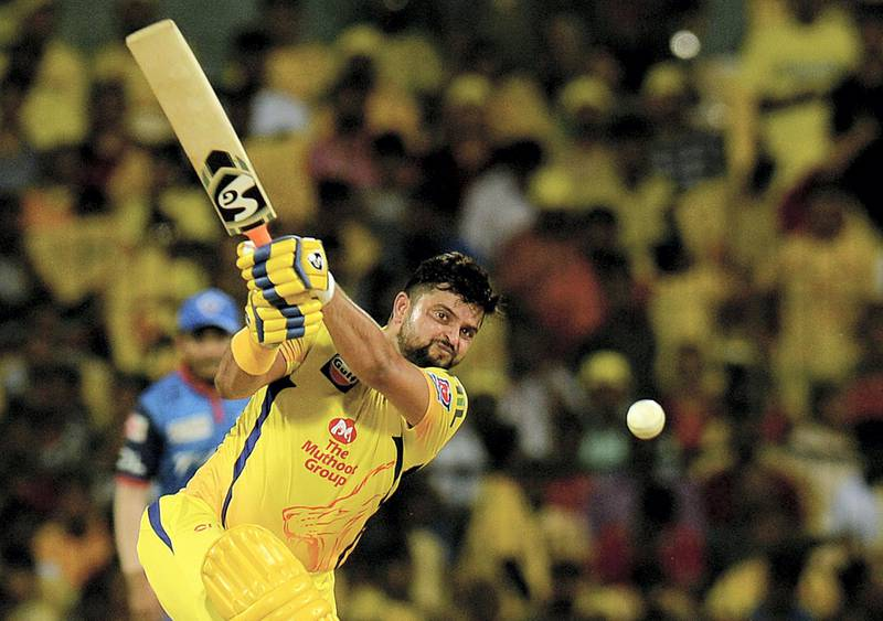 Chennai Super Kings cricketer Suresh Raina plays a shot during the 2019 Indian Premier League (IPL) Twenty20 cricket match between Chennai Super Kings and Delhi Capitals at the M.A. Chidambaram Stadium in Chennai on May 1, 2019. (Photo by ARUN SANKAR / AFP) / ----IMAGE RESTRICTED TO EDITORIAL USE - STRICTLY NO COMMERCIAL USE-----