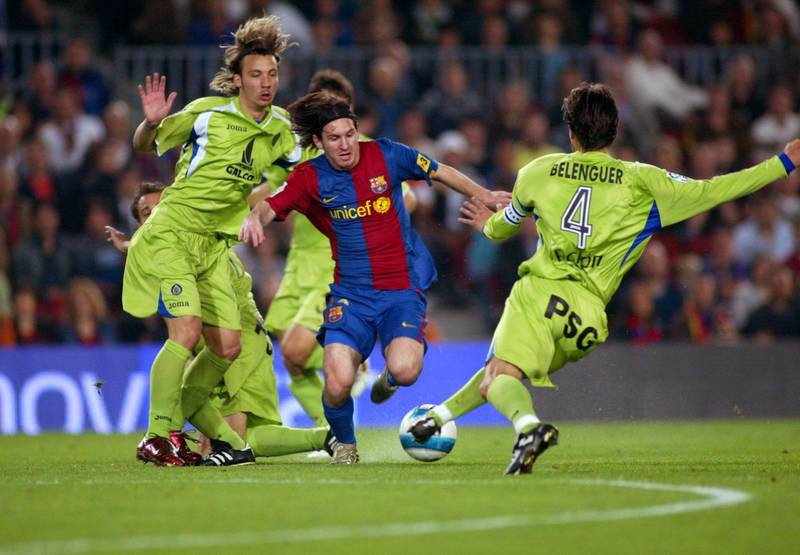 BARCELONA, SPAIN - APRIL 18: Leo Messi of FC Barcelona kicks his first goal during the match against Getafe, of Copa del Rey, on April 18, 2007, played at the Camp Nou stadium in Barcelona, Spain. (Photo by Bagu Blanco/Getty Images).