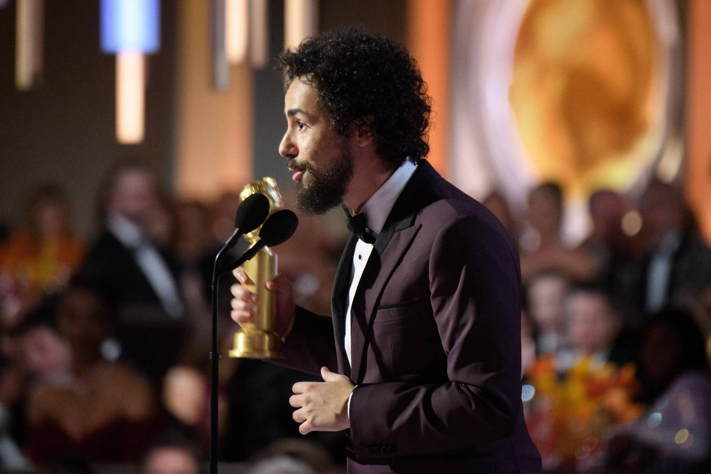epa08106122 A handout photo made available by the Hollywood Foreign Press Association shows US comedian Ramy Youssef accepting the Golden Globe Award for Best Performance by an Actor in a Television Series - Musical or Comedy for his role in Ramy on stage during the 77th annual Golden Globe Awards ceremony at the Beverly Hilton Hotel, in Beverly Hills, California, USA, 05 January 2020.  EPA/HFPA / HANDOUT ATTENTION EDITORS: IMAGE MAY ONLY BE USED UNALTERED, ONE TIME USE ONLY WITHIN 60 DAYS MANDATORY CREDIT HANDOUT EDITORIAL USE ONLY/NO SALES