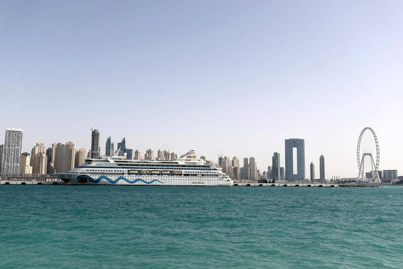 Dubai, United Arab Emirates - Reporter: N/A. News. Two German cruise ships have become the first to dock at the Dubai Cruise Terminal. Sunday, March 21st, 2021. Dubai. Chris Whiteoak / The National