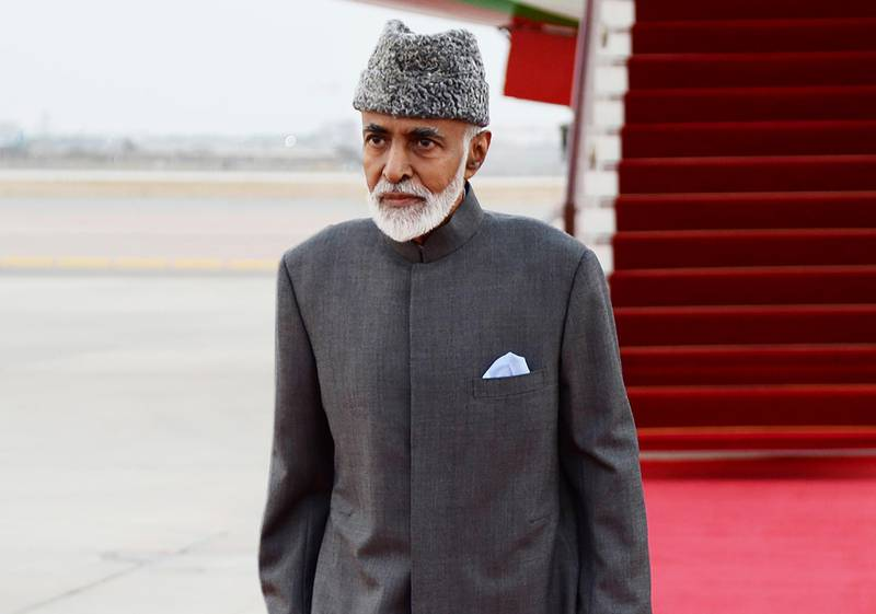 """FILE - In this photo made available by Oman News Agency, on March 23, 2015, Sultan Qaboos bin Said of Oman arrives in Muscat.  Oman's 79-year-old ruler has returned to his sultanate after traveling to Belgium for a medical checkup, the sultanate's state-run news agency reported Friday, Dec. 13, 2019. Sultan Qaboos bin Said left """"for some medical checks that will take a limited period, God willing,"""" the Oman News Agency reported a week earlier, citing a royal court statement.   (AP Photo/ Oman News Agency) ."""
