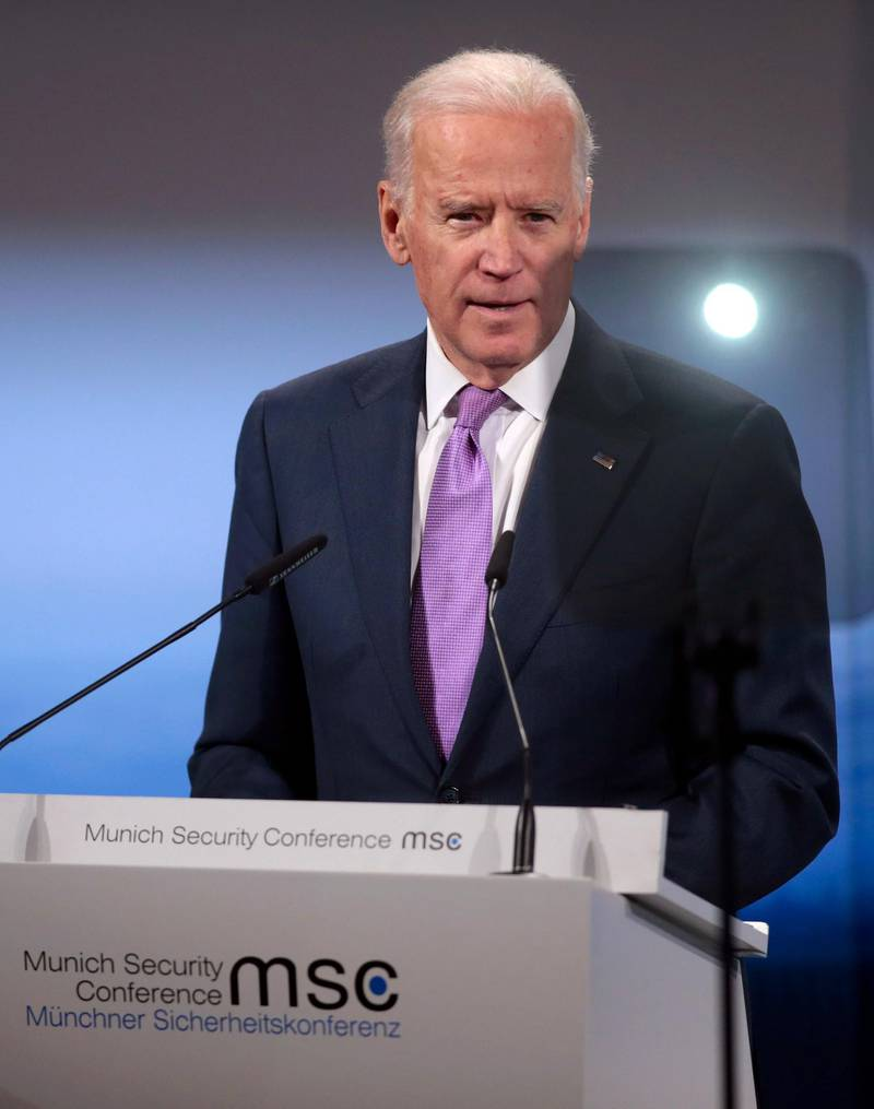 MUNICH, GERMANY - FEBRUARY 07:  US Vice President Joe Biden delivers a speech at the 51st Munich Security Conference (MSC) on February 7, 2015 in Munich, Germany. Foreign ministers and defense ministers from countries across the globe are meeting to discuss current global security issues, in particular the crisis in eastern Ukraine, the spread of ISIS in Syria and Iraq and the large-scale movement and plight of refugees.  (Photo by Johannes Simon/Getty Images)