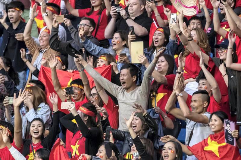 DUBAI, UNITED ARAB EMIRATES. 20 JANUARY 2019. AFC Football at Al Maktoum Stadium. Jordon vs Vietnam. Penalty kick won by B.T.Dung takes the match for Vietnam.  (Photo: Antonie Robertson/The National) Journalist: John McAuley. Section: Sport.