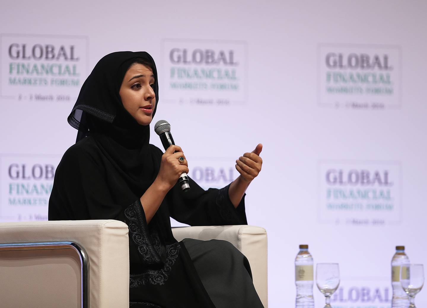 ABU DHABI - UNITED ARAB EMIRATES - 02MAR2016 - Reem al Hashimy, UAE minister of state, at the opening of Global Financial Markets Forum yesterday at Emirates Palace hotel in Abu Dhabi. Ravindranath K / The National (to go with Mahmoud story for Business) ID: 73737 *** Local Caption ***  RK0203-NBADForum08.jpg