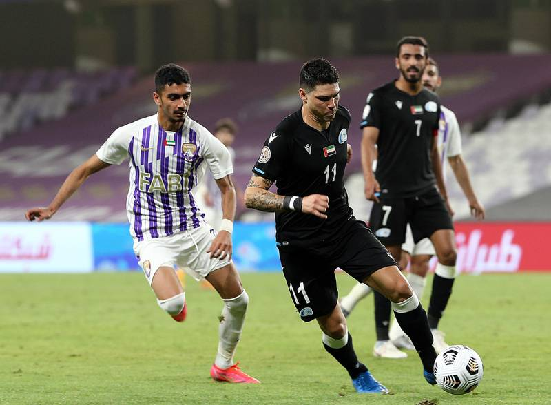 Baniyas' Argentine midfielder Gaston Suarez goes on the offensive in their 2-1 in over Al Ain in the Arabian Gulf League at the Hazza bin Zayed stadium on Tuesday, March 17, 2021. Courtesy PLC