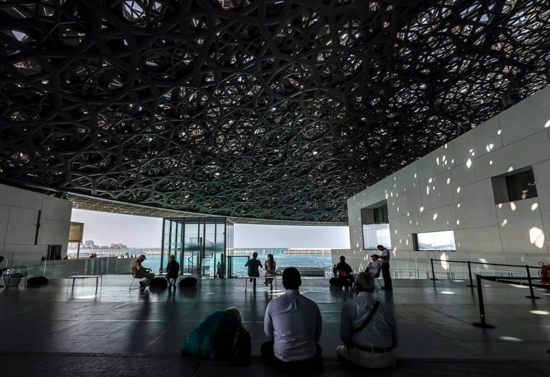 Abu Dhabi, United Arab Emirates, March 12, 2020.  Stock Images;  The Louvre Abu Dhabi.  Shot November 19, 2019.  Visitors at the Louvre, Abu Dhabi enjoying the sights.Victor Besa / The NationalSection:  NA standaloneReporter: