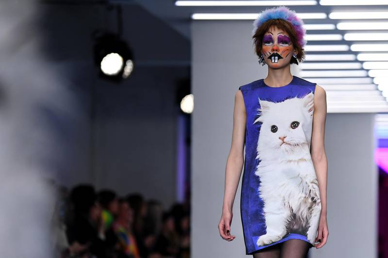 A model presents a creation by designer Ashley Williams during their catwalk show for their Autumn/Winter 2020 collection on the first day of London Fashion Week in London on February 14, 2020. (Photo by DANIEL LEAL-OLIVAS / AFP)