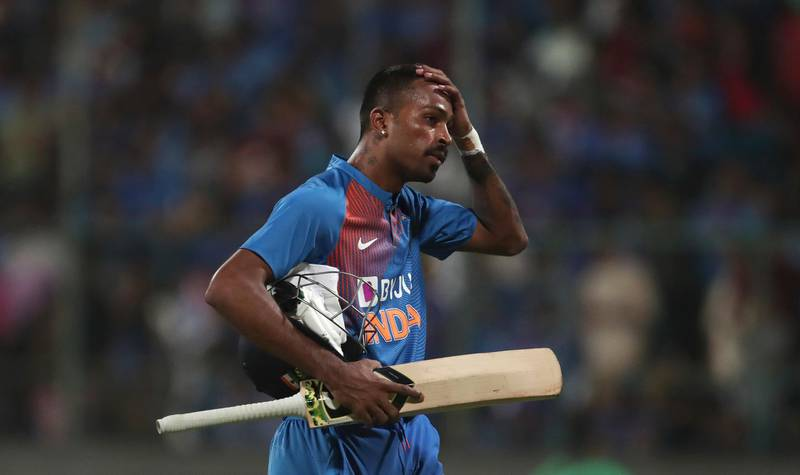 India's Hardik Pandya reacts as he leaves the field after being dismissed by South Africa's Kagiso Rabada during the third and last T20 cricket match between India and South Africa in Bangalore, India, Sunday, Sept. 22, 2019. (AP Photo/Aijaz Rahi)