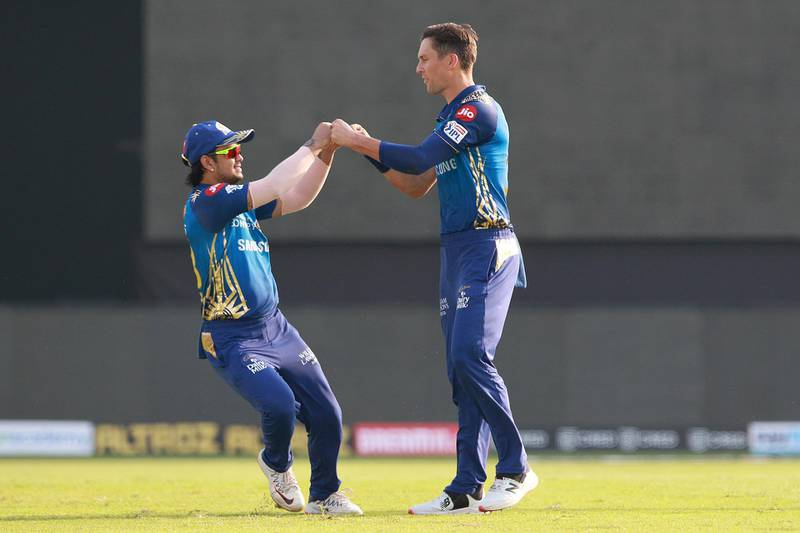 Trent Boult of Mumbai Indians celebrtaes after takes a wicket of Jonny Bairstow of Sunrisers Hyderabad during match 17 of season 13 of the Indian Premier League (IPL ) between the Mumbai Indians  and the Sunrisers Hyderabad held at the Sharjah Cricket Stadium, Sharjah in the United Arab Emirates on the 4th October 2020.  Photo by: Rahul Gulati  / Sportzpics for BCCI