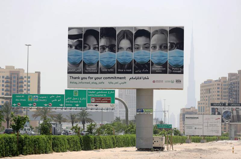 Dubai, United Arab Emirates - Reporter: N/A. News. A big sign on Al Khalil road advises people to stay informed due to Covid-19/Coronavisus. Wednesday, June 24th, 2020. Dubai. Chris Whiteoak / The National