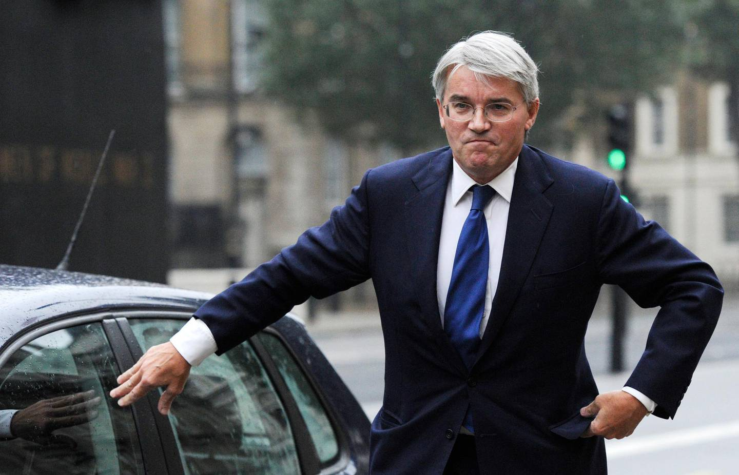 epa03408571 Andrew Mitchell, The Conservative Party Chief Whip speaks to the media, outside the Cabinet office in Whitehall, central London, England, 24 September 2012. Reports state that Andrew Mitchell has apologised for not showing a police officer enough respect after the officer  stopped him cycling out of the main Downing Street gate and directing him to the smaller pedestrian gate, and allegations then were made that the Chief Whip swore at the officer. Andrew Mitchell maintains he did not use the words attributed to him.  EPA/FACUNDO ARRIZABALAGA