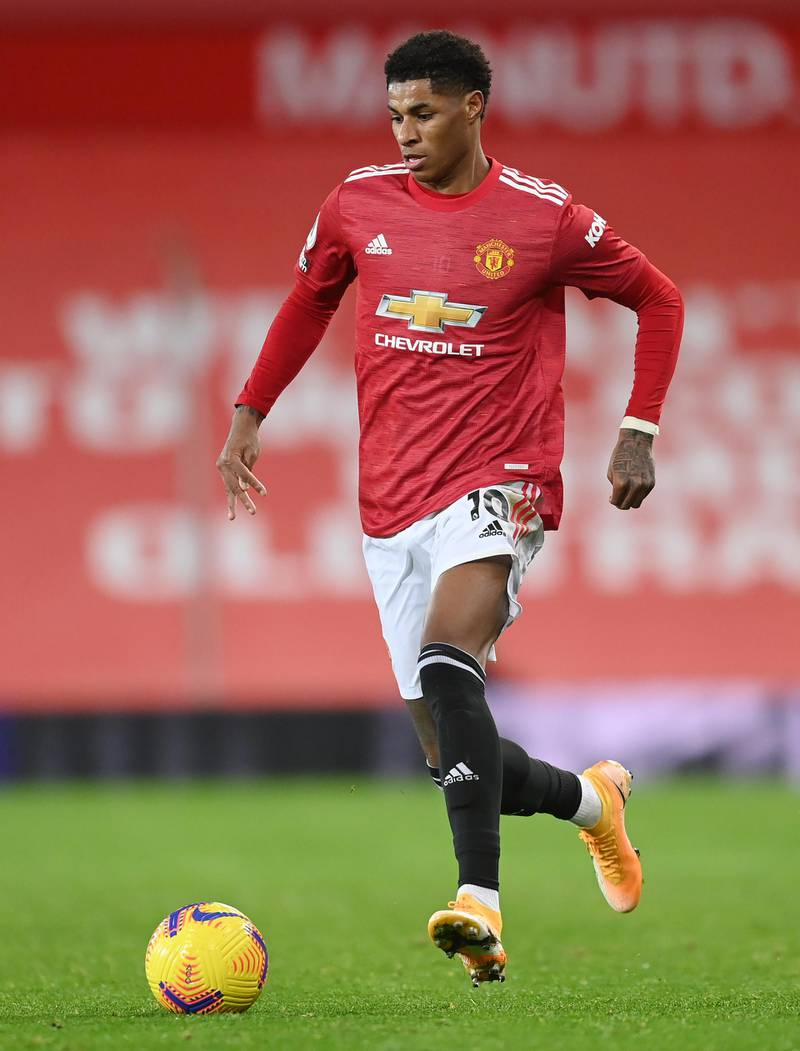 MANCHESTER, ENGLAND - DECEMBER 20: Marcus Rashford of Manchester United in action during the Premier League match between Manchester United and Leeds United at Old Trafford on December 20, 2020 in Manchester, England. The match will be played without fans, behind closed doors as a Covid-19 precaution. (Photo by Michael Regan/Getty Images)