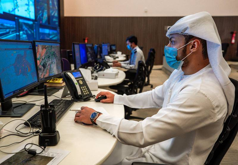 Al Ain, United Arab Emirates, November 1, 2020.   The control room at the intelligent traffic mangement system, Al Ain.Victor Besa/The NationalSection:  NA