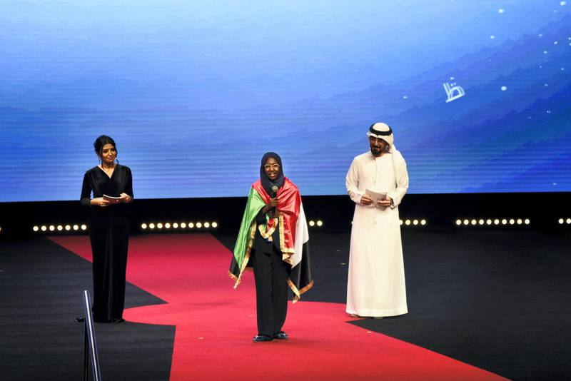 Sudanese Hadeel Anwar speaks at the 2019 Arab Reading Challenge in Dubai, UAE, Wednesday, Nov. 13, 2019. (Photos by Shruti Jain - The National)