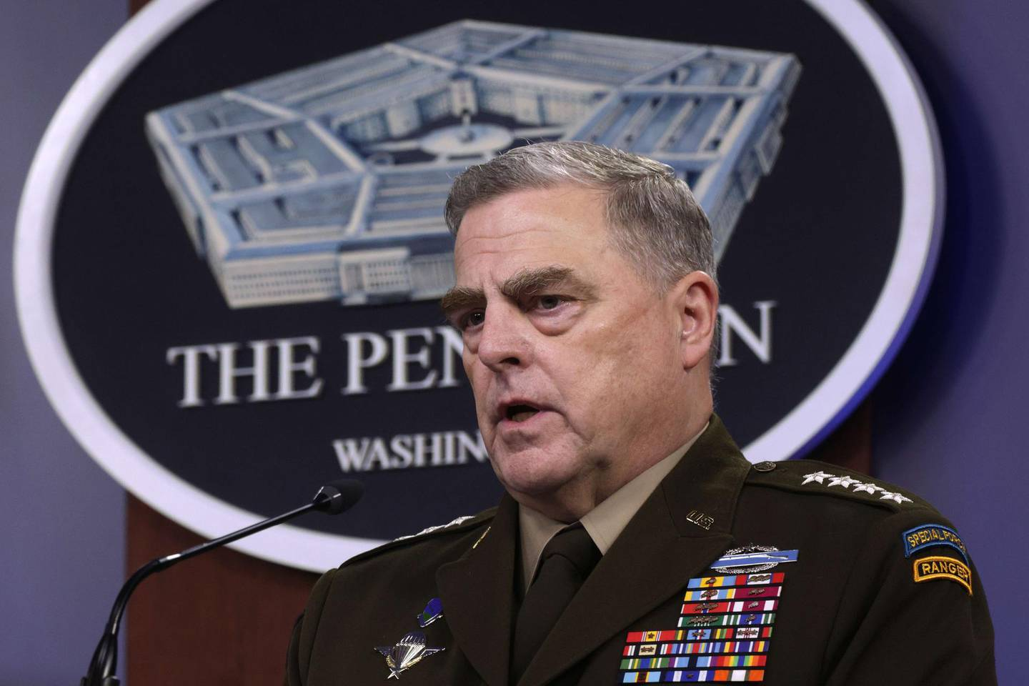 ARLINGTON, VIRGINIA - MAY 06: U.S. Chairman of the Joint Chiefs of Staff General. Mark Milley participates in a news briefing at the Pentagon May 6, 2021 in Arlington, Virginia. Secretary of Defense Lloyd Austin and General Milley held the briefing to answer questions from members of the media.   Alex Wong/Getty Images/AFP == FOR NEWSPAPERS, INTERNET, TELCOS & TELEVISION USE ONLY ==