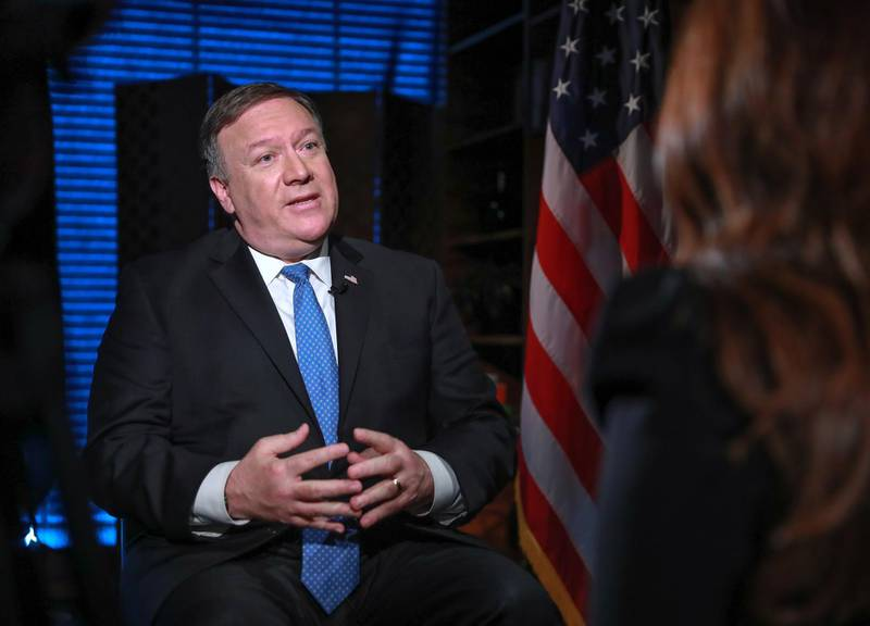 Abu Dhabi, U.A.E., July 10, 2018. Mike Pompeo, United States Secretary of State interview with Mina Al Oraibi, Editor in Chief, The National.Victor Besa / The NationalSection: NA