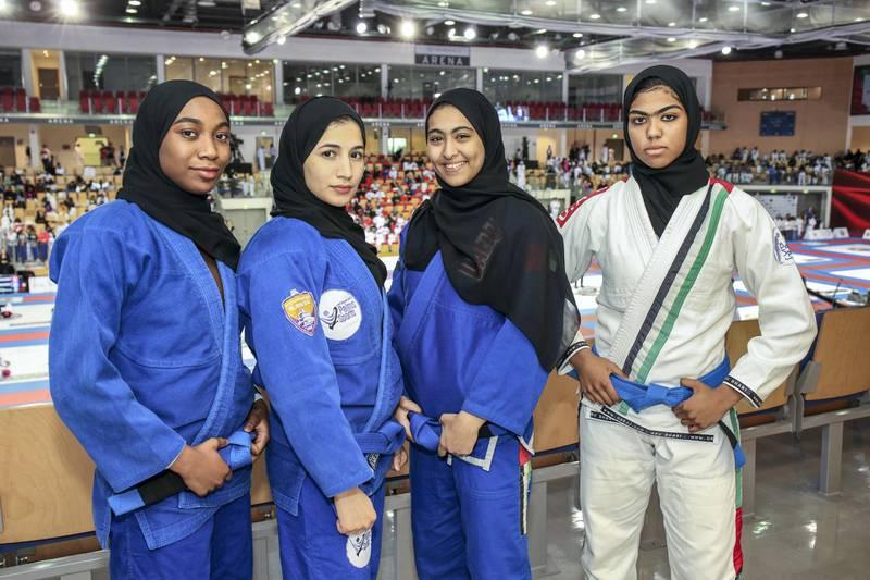 November 24, 2017.  Al Shaheed (Martyr) Jiu-Jitsu U18 tournament for girls at Arena at Zayed Sports City.   UAE National Jiu-Jitsu Team(L-R) Hessa Alshamsi-57kg-17 yearsMahra Alhanaei-52kg-16 yearsMaitha Shrem-52kg-17 years shayer AlmatroosBhi-63kg-16 yearsVictor Besa for The NationalSportsReporter: Amith Passela