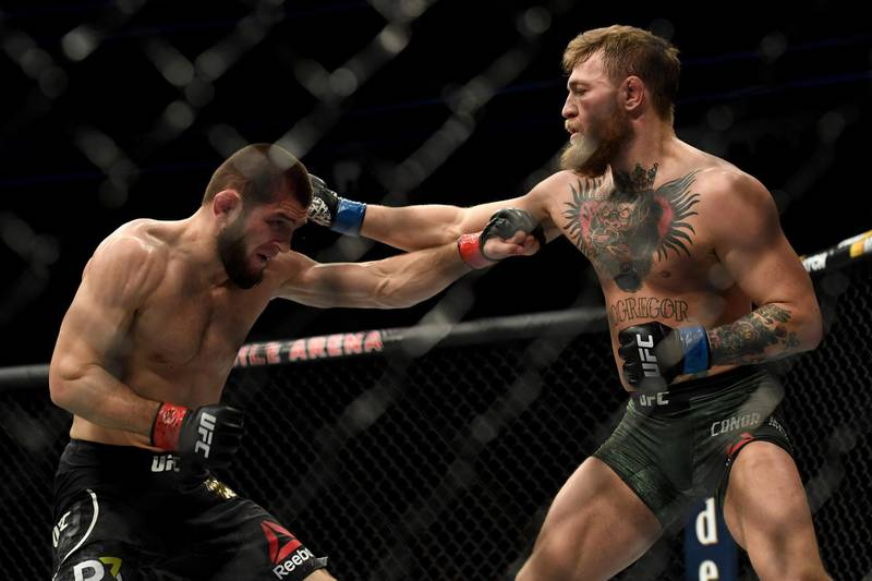 LAS VEGAS, CA - OCTOBER 06:  Khabib Nurmagomedov, left, and Conor McGregor exchange punches during their fight at UFC 229 at the T-Mobile Arena in Las Vegas, Nev. Friday, Oct. 6, 2018. (Photo by Hans Gutknecht/Digital First Media/Los Angeles Daily News via Getty Images)
