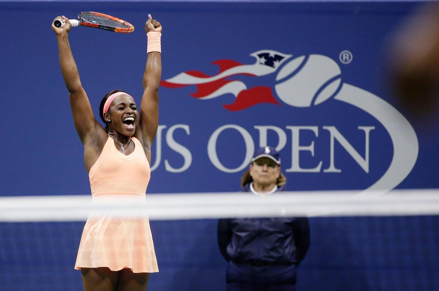 FILE - In this Sept. 7, 2017, file photo, Sloane Stephens, of the United States, reacts after defeating Venus Williams, of the United States, in the semifinals of the U.S. Open tennis tournament in New York. It's hard to pick one play that stood out for Sloane Stephens in her ride to the U.S. Open title this summer, but this 25-stroke point against Williams might have been the gem. (AP Photo/Seth Wenig, File)