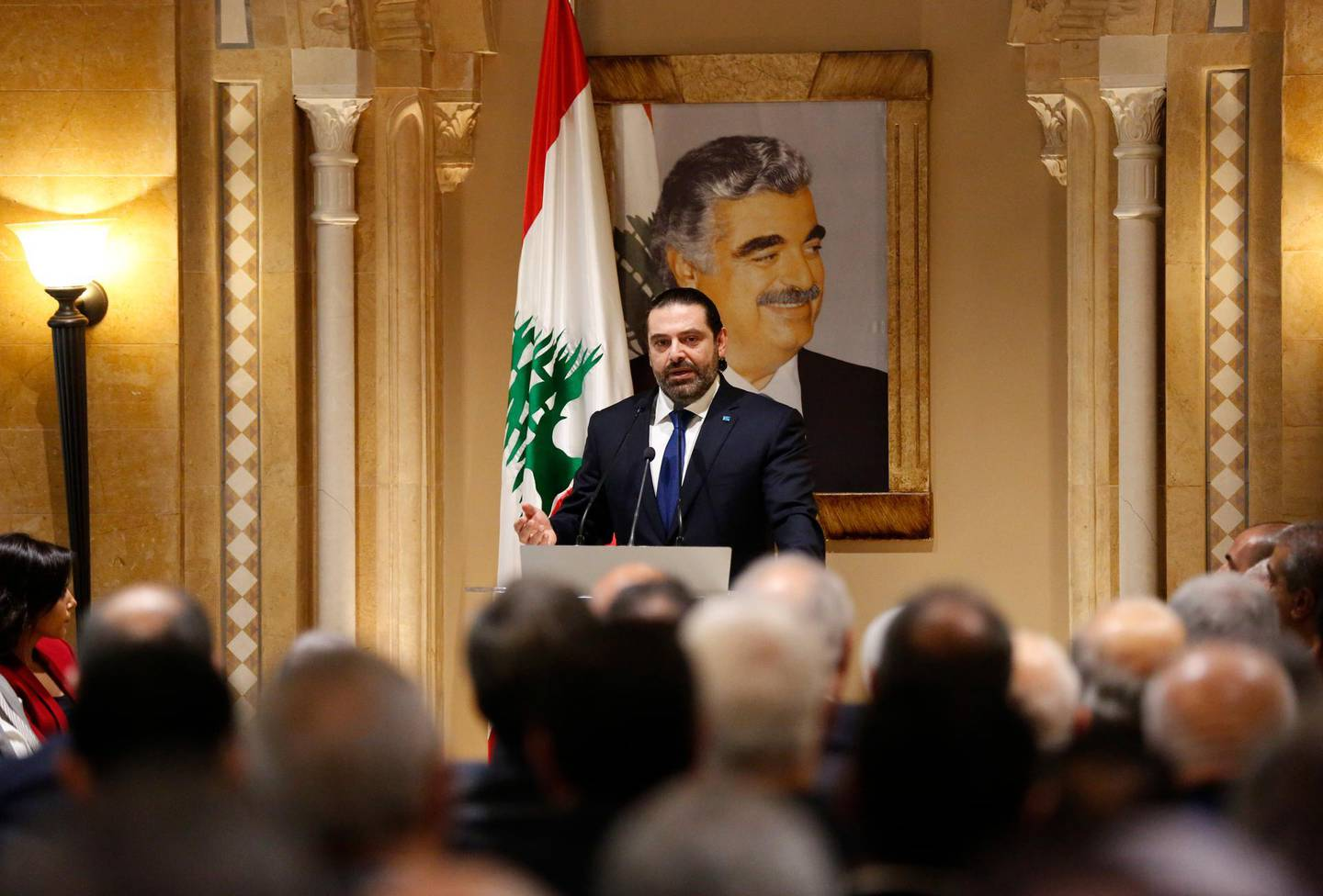 Lebanese Prime Minister-designate Saad Hariri, speaks during a press conference, in Beirut, Lebanon, Tuesday, Nov. 13, 2018. Hariri accused Hezbollah of hindering the formation of a new government six months after parliamentary elections. He said the Shiite militant group bears full responsibility for the consequences, including Lebanon's flagging economy. (AP Photo/Hussein Malla)