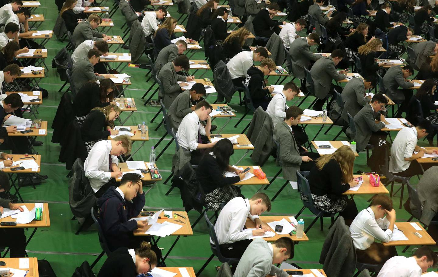 (PERMISSION GRANTED FOR PICTURES OF STUDENTS ) Students sit their GCSE mock exams at Brighton College in Brighton, East Sussex. (Photo by Gareth Fuller/PA Images via Getty Images)