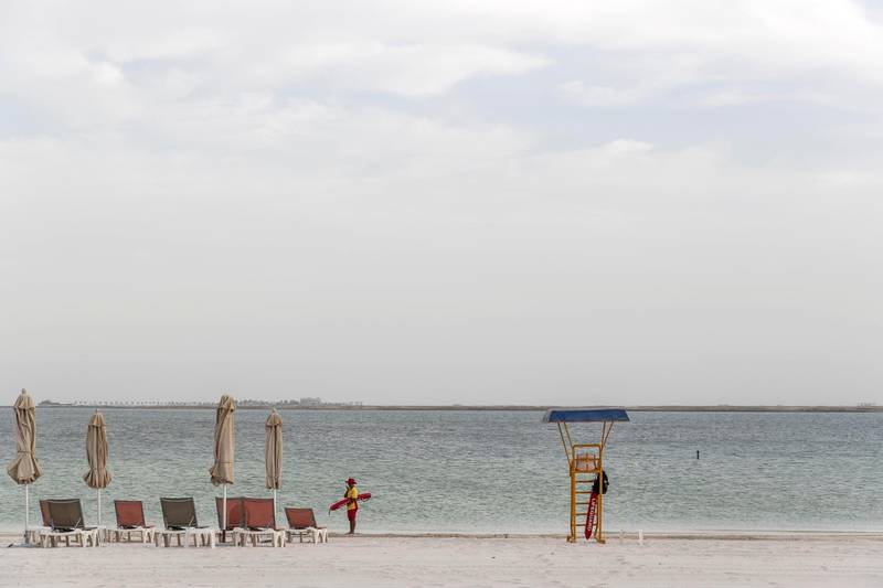 ABU DHABI, UNITED ARAB EMIRATES. 27 MAY 2018. Opening of Hudayriat beach next to Al Bateen beach.Beach facilities with life guards pre opening. (Photo: Antonie Robertson/The National) Journalist: Haneen Dajani. Section: National.