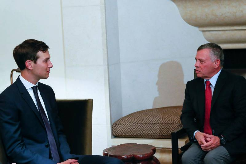 King Abdullah II, right, receives White House adviser, Jared Kushner, Tuesday, Aug. 22, 2017, in Amman, Jordan. Kushner has touched down in Cairo, the latest stop on his Mideast trip to discuss the possibility of resuming the Israeli-Palestinian peace process. Egypt's Foreign Ministry says Kushner, who is also the son-in-law of President Donald Trump, will meet Egyptian officials, including Foreign Minister Sameh Shourky. (The Royal Hashemite Court Twitter via AP)