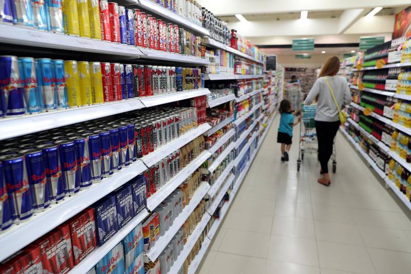 Dubai, United Arab Emirates - January 23rd, 2018: Spinneys and Waitrose will be introducing warning signs in all supermarkets in the UAE on the effects of caffeine on children, following a  growing number of UK supermarkets banning sales of caffeinated drinks to under-16s. Tuesday, January 23rd, 2018 at Spinneys, Motor City, Dubai. Chris Whiteoak / The National