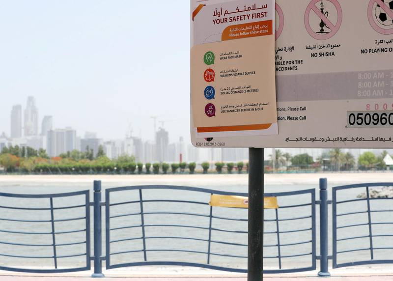 Dubai, United Arab Emirates - Reporter: N/A: Coronavirus / Covid-19. More parks to reopen in Dubai on Monday. A sign at Al Quoz Pond Park shows the new rules. Sunday, May 17th, 2020. Dubai. Chris Whiteoak / The National