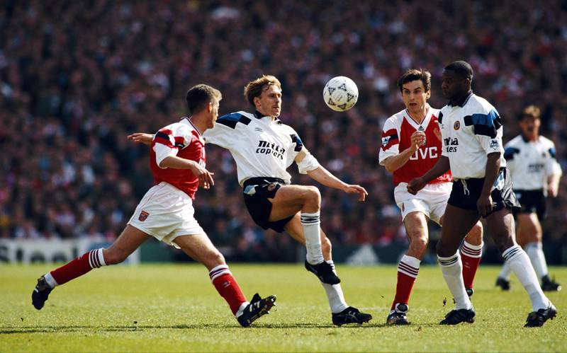 LONDON, UNITED KINGDOM - APRIL 12:  Kevin Richardson of Aston Villa in action watched by Ian Sellley (l) Alan Smith (2nd r) and Dalian Atkinson (r) during a Premier League match between Arsenal and Aston Villa at Highbury on April 12, 1993 in London, England.  (Photo by Shaun Botterill/Allsport/Getty Images)