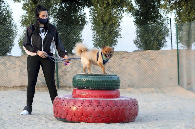 DUBAI, UNITED ARAB EMIRATES, December 10 – Shayda Jansar with her dog Henry after the official opening of Central Bark (dog park) in DAMAC Akoya Oxygen in Dubai. (Pawan Singh / The National) For Lifestyle/Online/Instagram. Story by Hayley