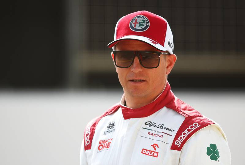 BAHRAIN, BAHRAIN - MARCH 12: Kimi Raikkonen of Finland and Alfa Romeo Racing looks on from the grid during Day One of F1 Testing at Bahrain International Circuit on March 12, 2021 in Bahrain, Bahrain. (Photo by Joe Portlock/Getty Images)