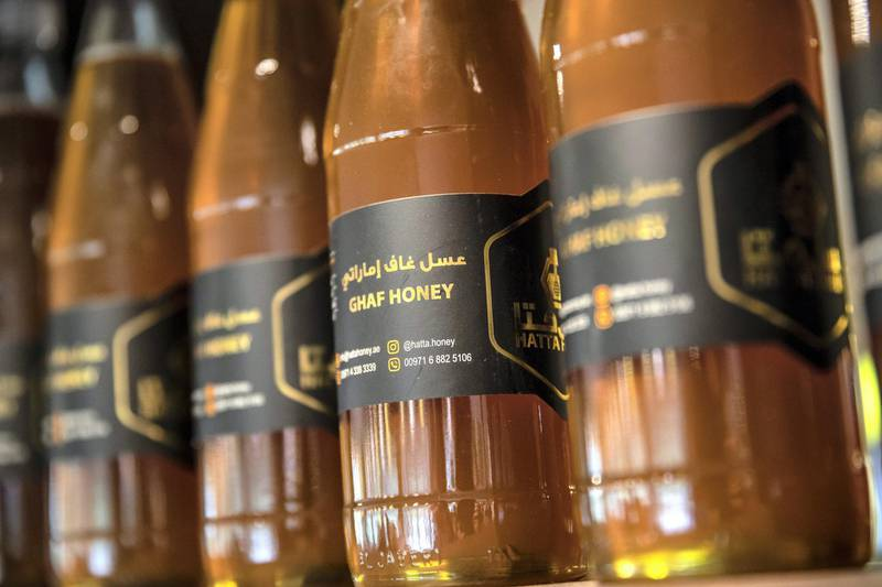 DUBAI, UNITED ARAB EMIRATES. 06 OCTOBER 2020. JA Hatta Fort Hotel has launched a collaboration with the Hatta Honey Bee Discovery Centre to use theyr products in the Food and Beverage menu of the hotel. Honey on sale at the centre.  (Photo: Antonie Robertson/The National) Journalist: janice Rodriguez. Section: Arts & Life.