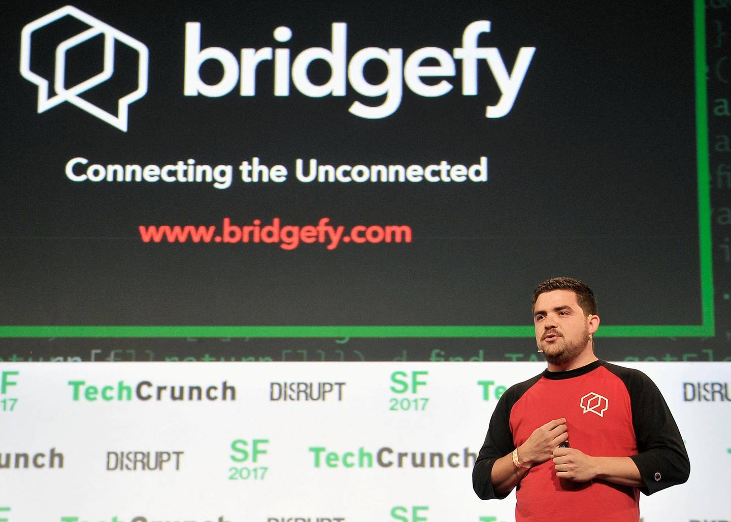 SAN FRANCISCO, CA - SEPTEMBER 18: Bridgefy Co-Founder Jorge Rios participates in the Startup Battlefield Competition during TechCrunch Disrupt SF 2017 at Pier 48 on September 18, 2017 in San Francisco, California.   Steve Jennings/Getty Images for TechCrunch/AFP