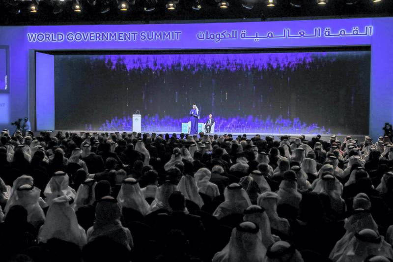 Dubai, U.A.E., February 10, 2019. World Government Summit Day 1.  Opening address by original Davos man Klaus Schwab and cabinet minister Mohammed Gergawi .Victor Besa/The NationalSection:  NAReporter:  Nick Webster