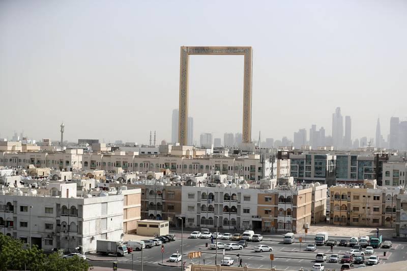 Dubai, United Arab Emirates - Reporter: N/A. Stock. General view of Al Karama and The Frame in Dubai. Monday, August 31st, 2020. Dubai. Chris Whiteoak / The National