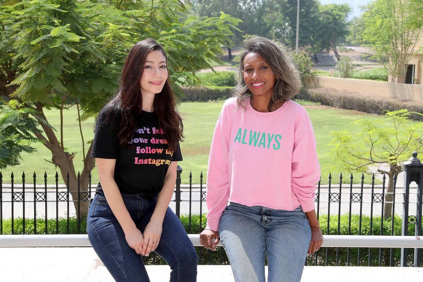 DUBAI, UNITED ARAB EMIRATES , October 8 – 2020 :- Left to Right -  Ayat Toufeeq and Amina Grimen , co-founders of a Dubai based beauty start-up Powder at their home in the Greens in Dubai. (Pawan Singh / The National) For Business. Story by Alkesh