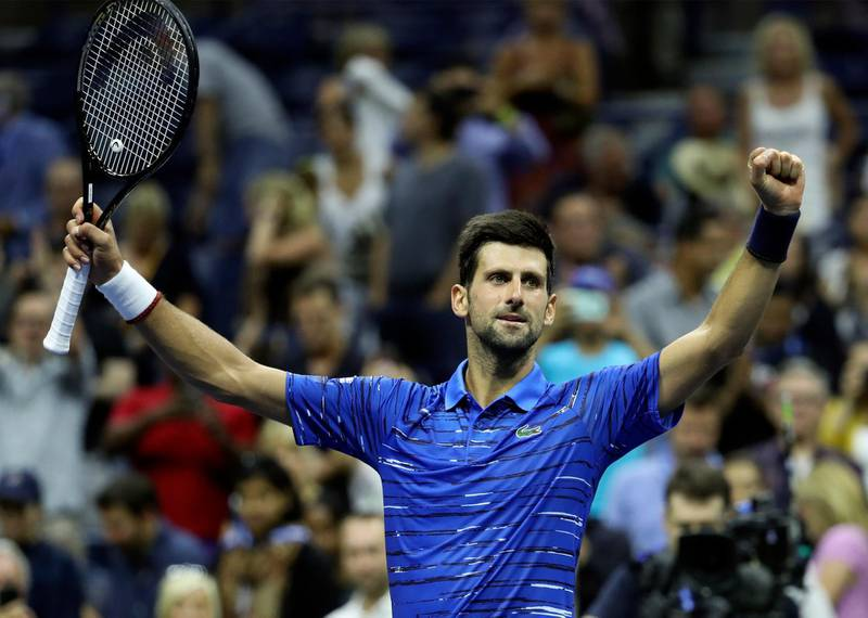 epa07805883 Novak Djokovic of Serbia celebrates defeating Denis Kudla of the USA during the fifth day of the US Open Tennis Championships at the USTA National Tennis Center in Flushing Meadows, New York, USA, 30 August 2019. The US Open runs from 26 August through to 08 September 2019.  EPA/JASON SZENES