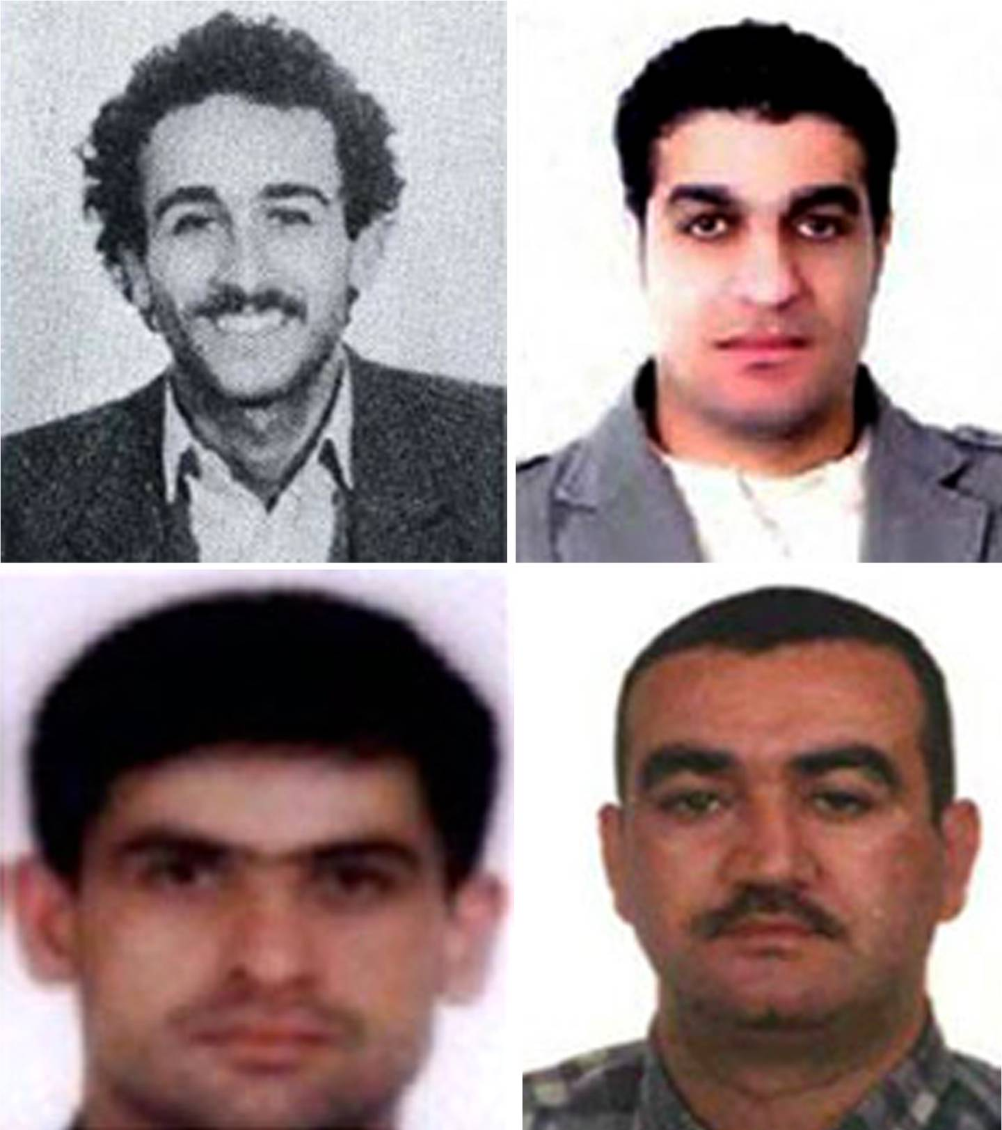 """(FILES) In this file photo obtained on July 29, 2011 from the Special Tribunal for Lebanon shows a combo of pictures showing four Hezbollah suspects indicted in the assassination case of former Lebanese prime minister Rafiq Hariri, (from top L-R) Mustafa Amine Badreddine, Assad Hassan Sabra, Hussein Hassan Oneissi and Salim Jamil Ayyash.  A massive bomb tore through Hariri's armoured convoy as he drove home for lunch on Valentine's Day 2005, killing him and 21 other people including seven of his bodyguards, as well as wounding 226 others. A UN-backed court is to deliver its judgement on August 7, 2020, on four suspected Hezbollah members tried in absentia for former Lebanese premier Rafic Hariri's murder in a 2005 Beirut car bombing. / AFP / Special Tribunal for Lebanon / - / EDITOR'S NOTE ==== RESTRICTED TO EDITORIAL USE - MANDATORY CREDIT """"AFP PHOTO/ SPECIAL TRIBUNAL FOR LEBANON"""" - NO MARKETING NO ADVERTISING CAMPAIGNS - DISTRIBUTED AS A SERVICE TO CLIENTS ===="""