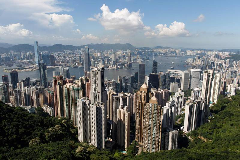 (FILES) In this file photo taken on June 22, 2016, a general view of the Victoria Harbour and the Hong Kong skyline from the Peak, a popular vantage point for tourists, is seen in Hong Kong. Banking giant HSBC on September 27, 2018 hiked its lending rate in Hong Kong for the first time in 12 years, a move that ends an age of cheap cash and could hit the city's famous red-hot property market. / AFP / Anthony WALLACE