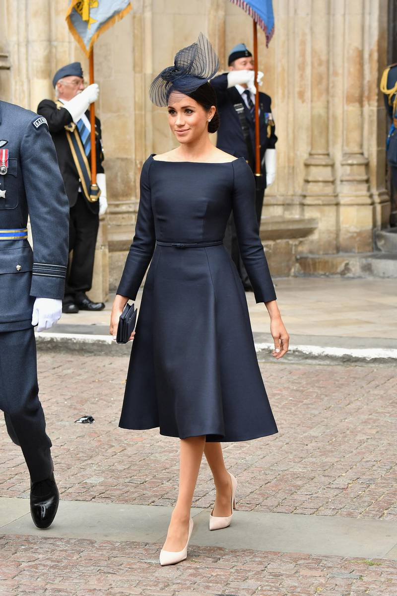 LONDON, ENGLAND - JULY 10:  Meghan, Duchess of Sussex attends as members of the Royal Family attend events to mark the centenary of the RAF on July 10, 2018 in London, England.  (Photo by Jeff Spicer/Getty Images)
