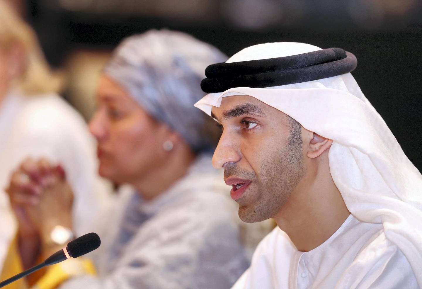Abu Dhabi, United Arab Emirates - July 01, 2019: Dr. Thani Al Zeyoudi, Minister of Climate Change and Environment speaks. Climate and Health MinistersÕ Meeting. There will be three sections: air quality, climate-induced disasters and weather events, and financing approaches for the health-climate nexus. Day 2 of Abu Dhabi Climate Meeting. Monday the 1st of July 2019. Emirates Palace, Abu Dhabi. Chris Whiteoak / The National