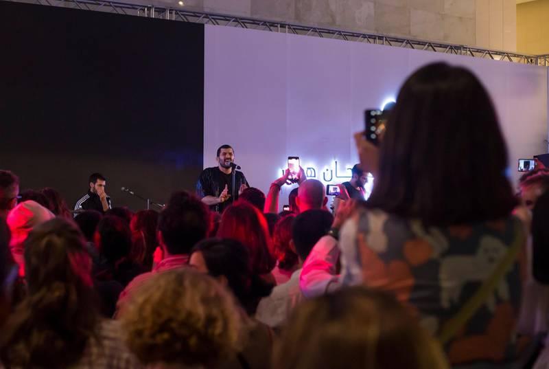 Abu Dhabi, United Arab Emirates- Mashrou Leila performing at Hay Festival at Atrium, Manaarat Saadiyat.  Leslie Pableo for The National