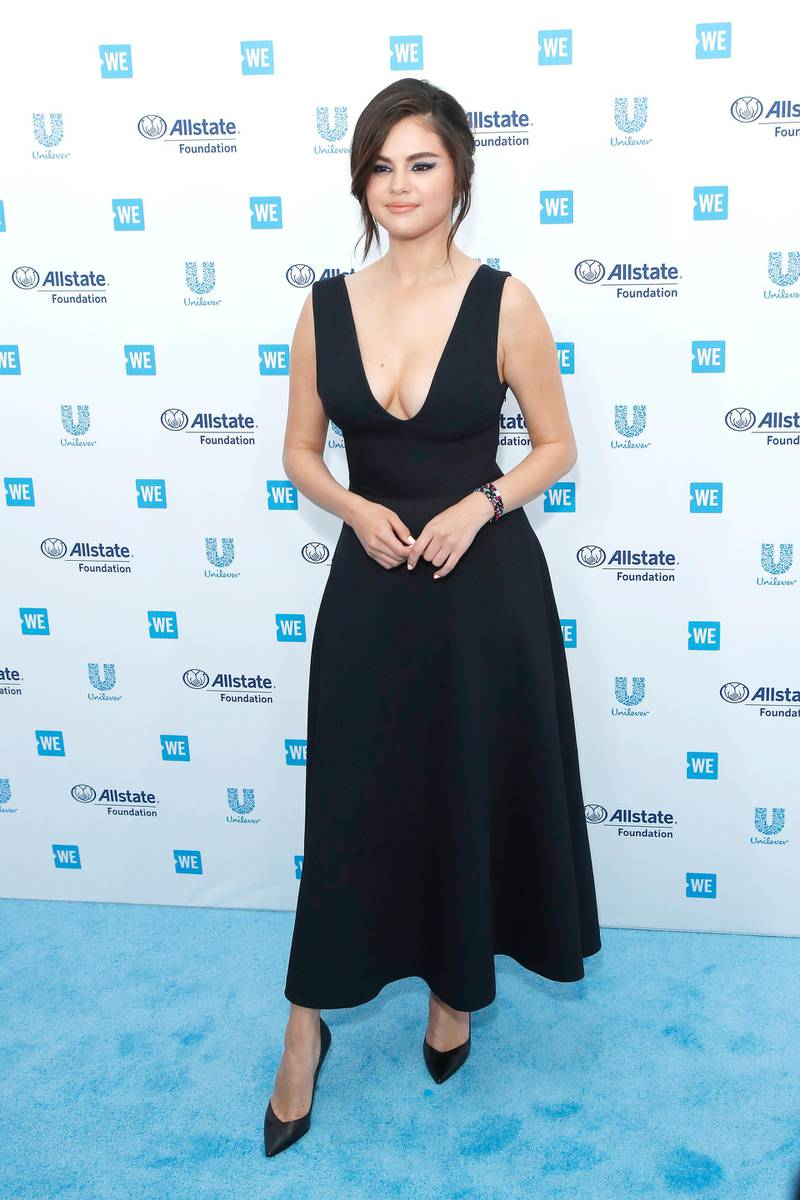 epa07528597 Selena Gomez arrives for WE Day California at the Forum in Inglewood, California, USA 25 April 2019. WE Day is the worlds largest youth empowerment event combining the energy of a live concert with the inspiration of extraordinary stories of leadership and change. WE Day California will bring together world-renowned speakers and award-winning performers to celebrate the tens of thousands of young people from across California who have made a difference in their community.  EPA-EFE/NINA PROMMER