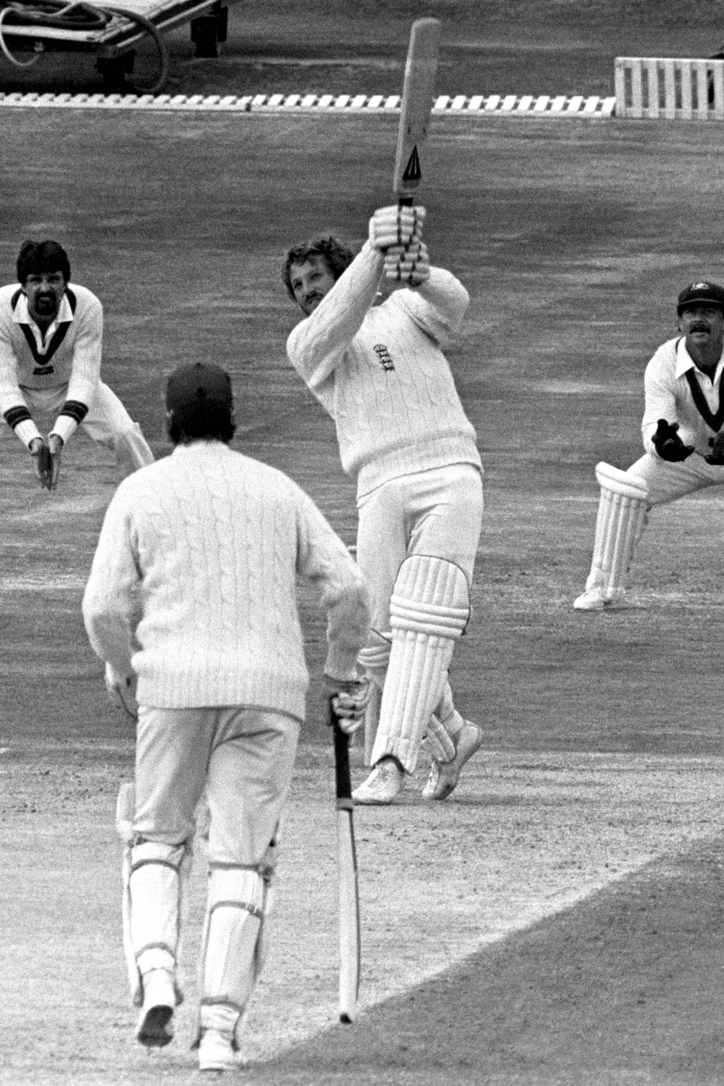 England's Ian Botham hits out against the Australian pace attack at Headingley during the forth day's play of the third Cornhill Test.