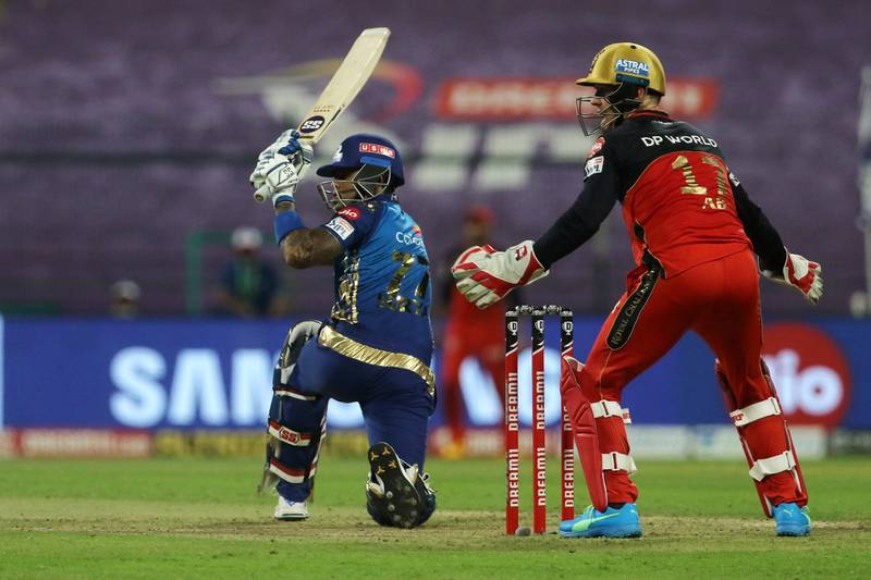 Surya Kumar Yadav of Mumbai Indians plays a shot during match 48 of season 13 of the Dream 11 Indian Premier League (IPL) between the Mumbai Indians and the Royal Challengers Bangalore at the Sheikh Zayed Stadium, Abu Dhabi  in the United Arab Emirates on the 28th October 2020.  Photo by: Vipin Pawar  / Sportzpics for BCCI