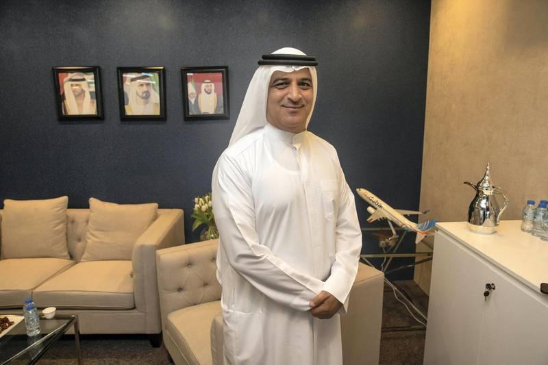 DUBAI, UNITED ARAB EMIRATES. 28 APRIL 2019. The first day of Arabian Travel Market at the Dubai World Trade Center. Fly Dubai CEO Ghaith al Ghaith. (Photo: Antonie Robertson/The National) Journalist: Deena Kamel. Section: Business.