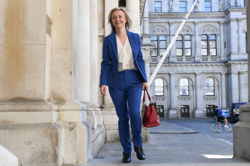 FILE PHOTO: Britain's International Trade Secretary Liz Truss arrives at the Foreign and Commonwealth Office (FCO), ahead of a cabinet meeting to be held at the FCO, for the first time since the COVID-19 lockdown in London, Britain July 21, 2020. Stefan Rousseau/Pool via REUTERS/File Photo