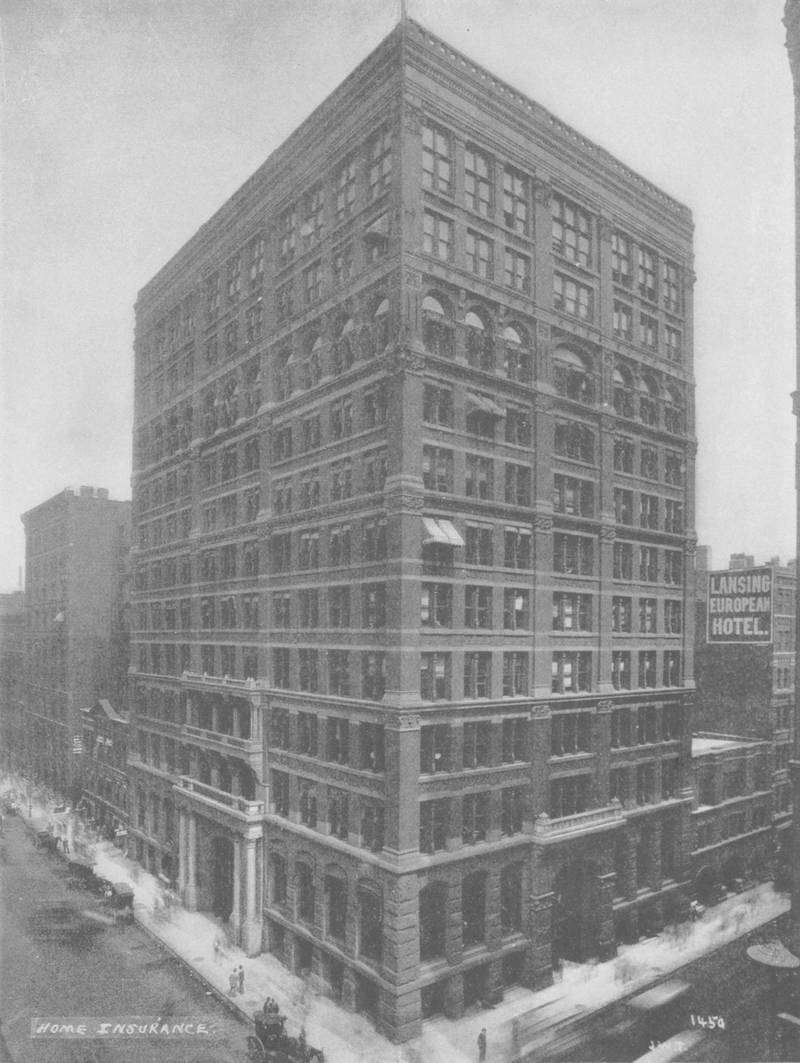 The Origin Of The Skyscraper - black and white image of the Home Insurance Building showing a view from the southwest, stating that the upper two floors were added in 1890, 1931. (Photo by Museum of Science and Industry, Chicago/Getty Images)