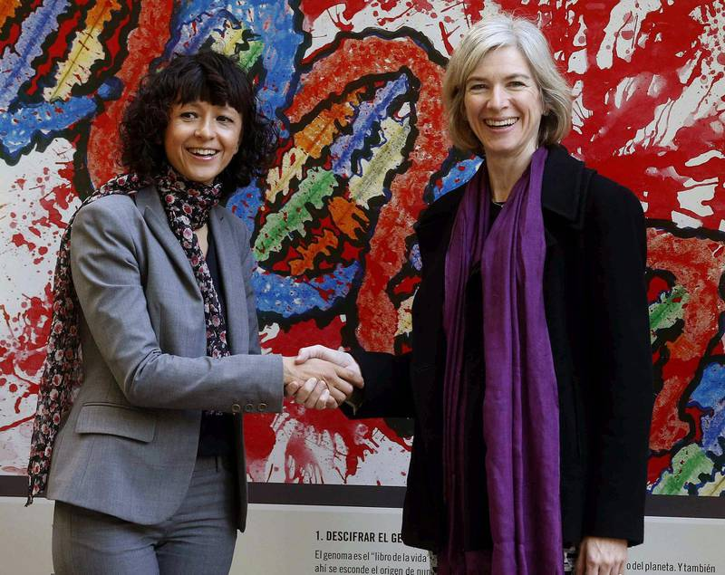 epa08726348 (FILE) - File photo dated on 21 October 2015 of scientists Emmanuelle Charpentier (L) and Jennifer Doudna (R), winners of 2015 Princess of Asturias Prize for Scientific and Technical Investigation, shaking hands during a press conference held in the framework of events organized on the sidelines of Princess of Asturias Prizes awarding ceremony in Oviedo, northern Spain (reissued 07 October 2020). Charpentier and Doudna share the 2020 Nobel price in Chemistry for discovering the CRISPR/Cas9 genetic scissors with which researchers can change the DNA of animals, plants and microorganisms with extremely high precision.  EPA/J.L. Cereijido